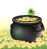 A pot of gold in the garden — Stock Vector