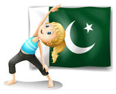 The Pakistan flag at the back of a girl — Stock Vector