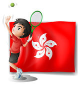 The flag of Hongkong with a tennis player — Stok Vektör