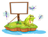 A sad frog and a white blank board — Stock Vector