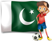 The Pakistan flag and the football player — Stock Vector