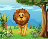 A big lion in the garden — Stock Vector