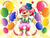 Een dozijn van kleurrijke ballons met een clown — Stockvector