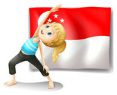 A girl with the flag of Singapore — Stock Vector