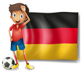 A football player in front of the flag of Germany — Stock Vector