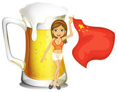 A girl with the flag of China in front of a big mug of beer — Stock Vector