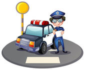 A police officer beside his patrol car — Stock Vector