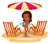A tan lady at the beach near the beach umbrella and chairs — Stock Vector