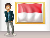 A boy with the framed flag of Indonesia — Stock Vector