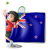 A young tennis player in front of the New Zealand flag — Vector de stock