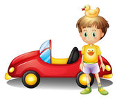 A young boy with a rubber duck and a big toy car — Stock Vector