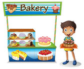 A boy selling cakes — Stock Vector