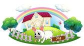 A dog guarding a house — Stock Vector