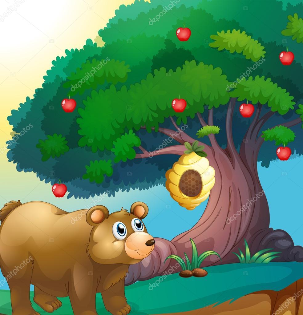 看着挂在一棵苹果树的蜂巢熊