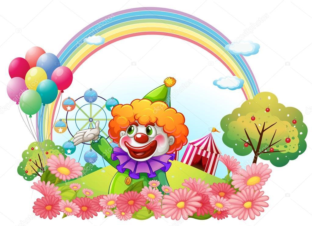 游乐园中的小丑 — 图库矢量图像08