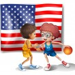 The USA flag and the two basketball players — Stock Vector