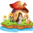 A mushroom house with two cats - Stock Vector