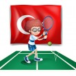 A boy playing tennis in front of the flag of Turkey - Stok Vektör