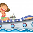 A boat with a girl and a cat — Stock Vector