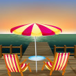 A wooden bridge with an umbrella and chairs — Stock Vector