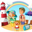 A family at the beach with a lighthouse - Stock Vector