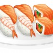 A plate full of sushi — Stock Vector