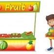 A young boy selling fruits - Stock Vector