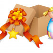 A baby doll with a box - Stock Vector