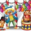 A carnival with a clown and monkeys — Stock Vector