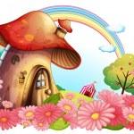 A mushroom house with a garden of flowers — Stock Vector