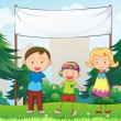A family at the park with an empty banner - Stock Vector