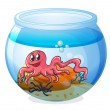 An octopus inside an aquarium — Stock Vector