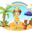 A young child with his toys near the coconut tree — Vektorgrafik