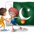The flag of Pakistan and the basketball players — Stock Vector