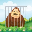 A gorilla in a cage — Stock Vector