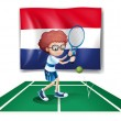 The flag of Netherlands at the back of a tennis player - Stok Vektör