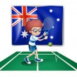 An Australian flag at the back of a tennis player - 图库矢量图片