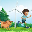 Royalty-Free Stock Векторное изображение: A boy and his dog near the three windmills