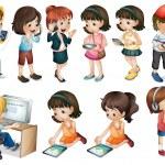 olika verksamheter för unga kvinnor — Stockvektor