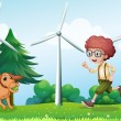 Royalty-Free Stock Векторное изображение: A boy playing with his dog near the windmill