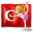 A girl with the flag of Turkey — Stock Vector
