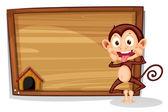 A monkey beside an empty board — Stock Vector