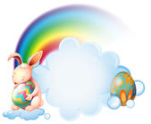 A bunny hugging an easter egg near the rainbow — Stock Vector