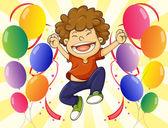 A very happy man with a dozen of balloons — Stock Vector