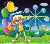 A clown with balloons near the ferris wheel — Stock Vector