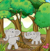 Two young elephants in the forest — Stock Vector