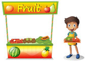 A young boy selling fruits — Stock Vector