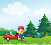 A young boy beside his car at the hill — Stock Vector