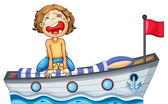 A boy in a boat with a red flag — Stock Vector