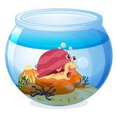 A snail inside an aquarium — Stock Vector
